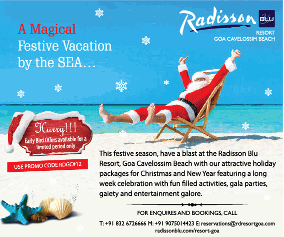 Radisson Blu A Magical Festive Vacation By The Sea Ad In Times Of India Delhi Advert Gallery