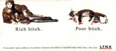 Print ad for Lynx's anti-fur campaign