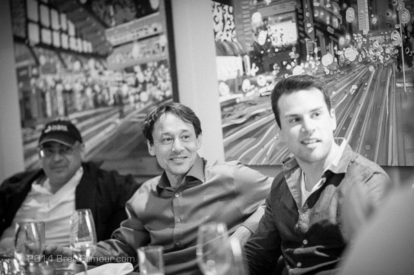 B & W Photo of Italians at a restaurant in Calgary