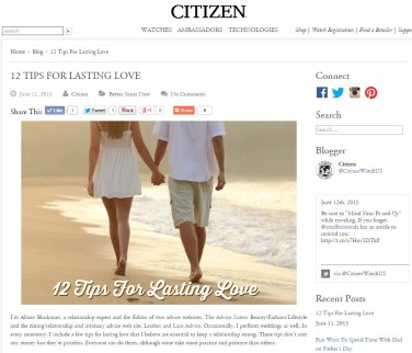 snip of the citizen blog article by alison blackman 12 steps of lasting love