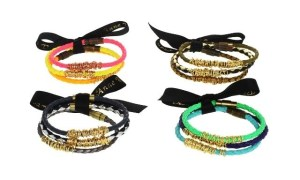 These Anne Woodman Braided bracelets are available in 15 delicious colors and are hand made leather or vinyl . The wrapped wire makes it modern. They're just $24-$48
