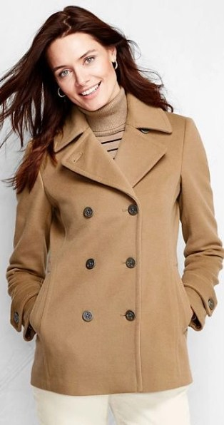 lands end luxurious pea coat in camel