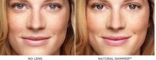 natural shimmer with and without