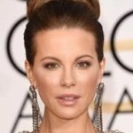 Get this red carpet look: Kate Beckinsale's not quite a bun/knot 2015 Golden Globes