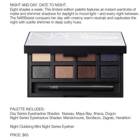 matte shimmer eyeshadow palette by nars