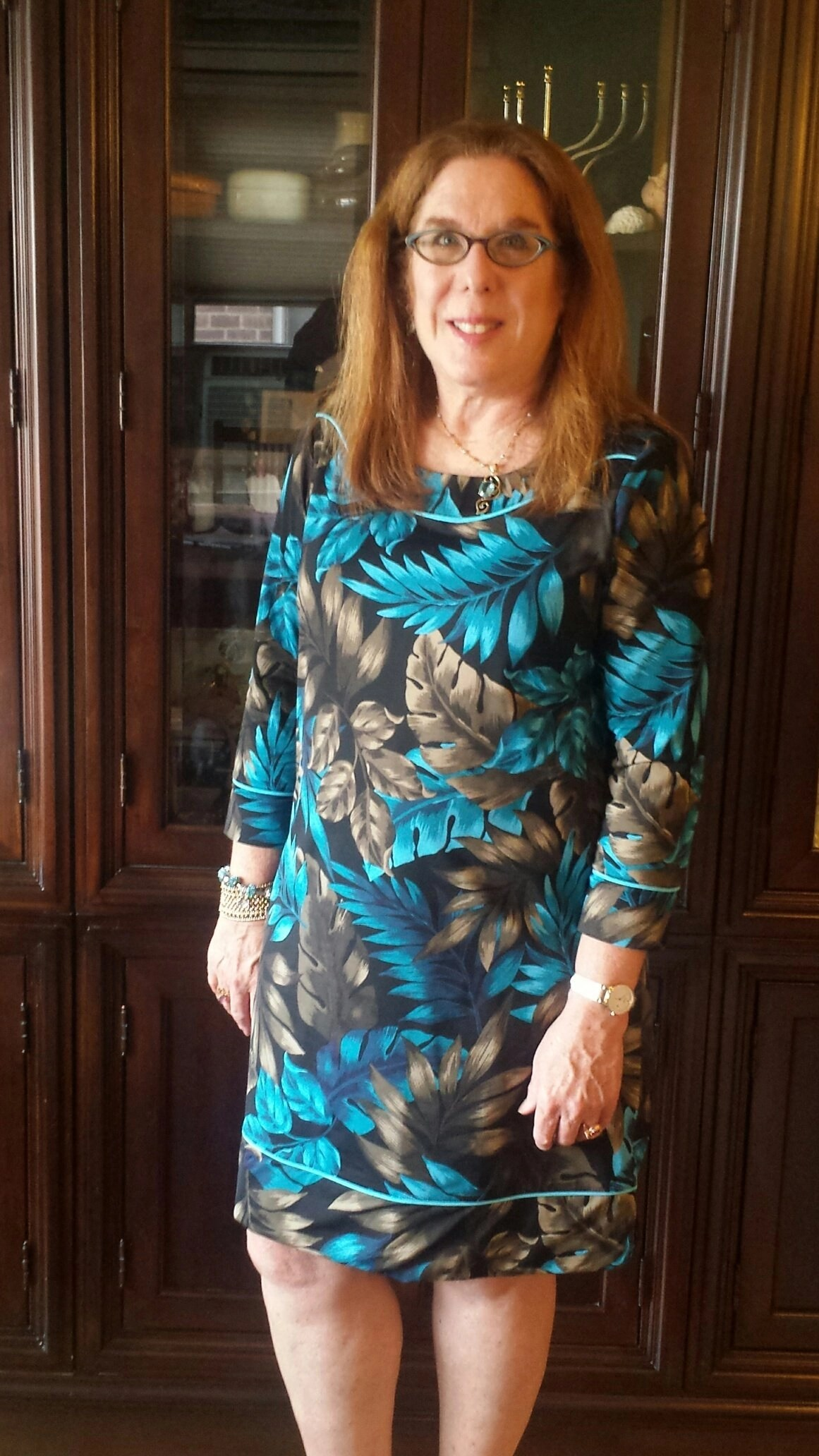 "a127891d8f I m wearing the fabulous Lands End Women s Swim Cover-up Tunic Dress in  Tropical"" I liked this so much I bought another one in another pattern for  travel!"