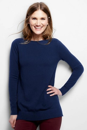 blue cashmere boatneck tunic from lands end