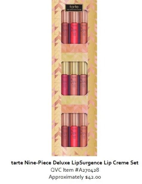 qvc tarte 8 piece deluxe lipSurgence lip creme set