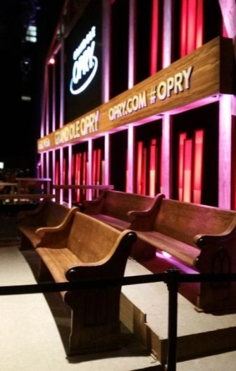 guest benches at the Opry on the stage