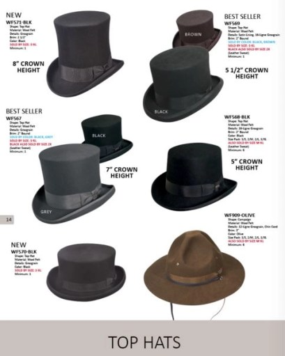 a selection of top hats in Dofrman Pacific;'s lookbook