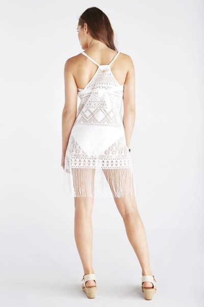 back of fringed crochet slip dress Hawaiian Tropic scent of the sea collection