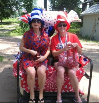 patriotic ladies july 4th independence day golf cart parade