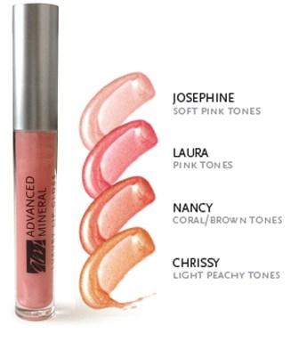 advanced mineral makeup lip gloss four shades
