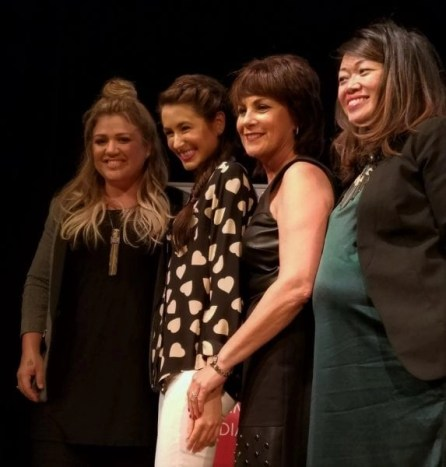 Kelly Clarkson, Chloe Coscarelli, Ellen Seckler and moderator Claudia Chan at the 2016 SHE Summit