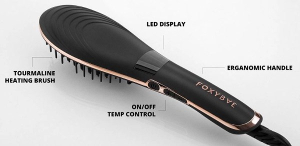 foxy bae heat styling brush showing features