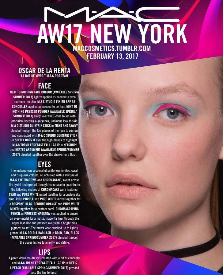 mac cosmetics oscar de la renta nyfw fw 2017 backstage beauty