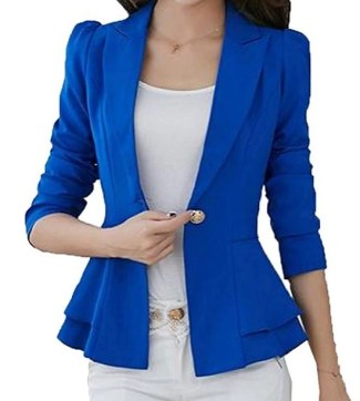 XQS Womens Chic Notch Lapel Sharp Shoulder Pad Asymmetry Blazer