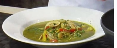 green thai curry noodle soup photo