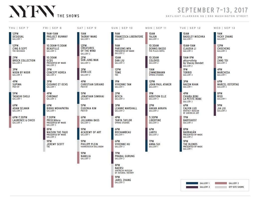 new york fashion week september 2017 schedule