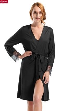 hanro black silk robe