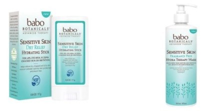 Baboo ry relief hydrating stick and hydra therapy wash natural and organic sensitive skin