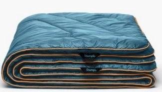 holiday gift idea rumpl original puffy blanket in blue stock photo from RUMPL