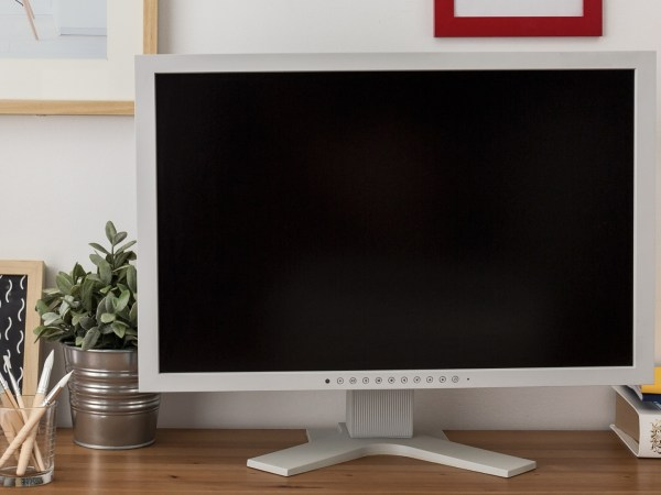 Desk with a HP monitor