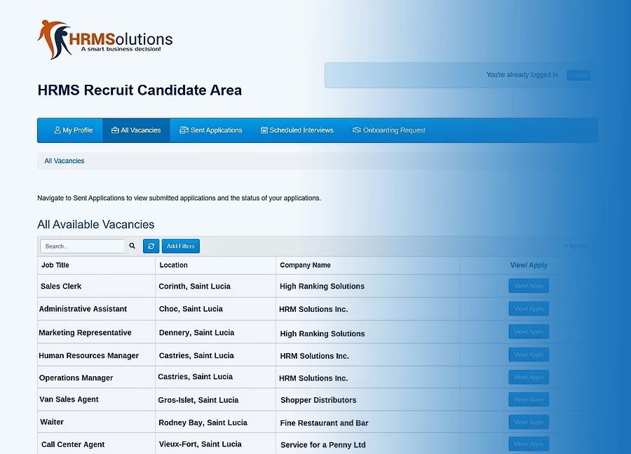hrms recruit application