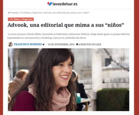 Advook Editorial en La Voz del Sur