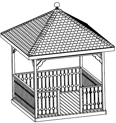 Beginner Design Gazebo Plans, 12ft Square Gazebo, Hip Roof