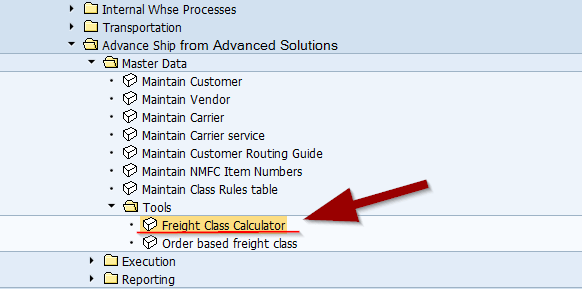 Determine your freight class in Advance Ship for SAP