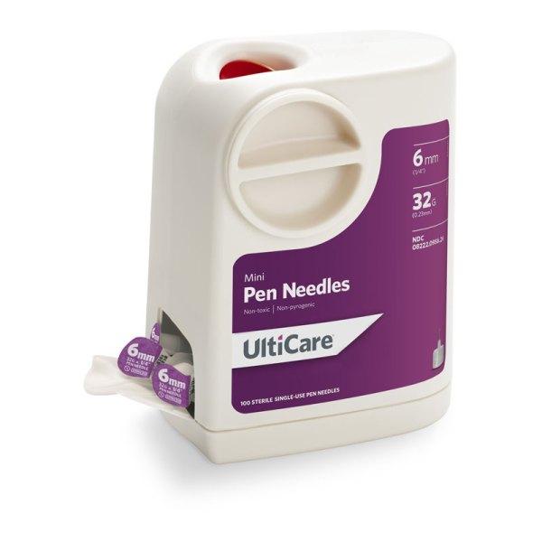 Ultiguard Mini Pen Needles 32g 6mm 100 Count Adw Diabetes