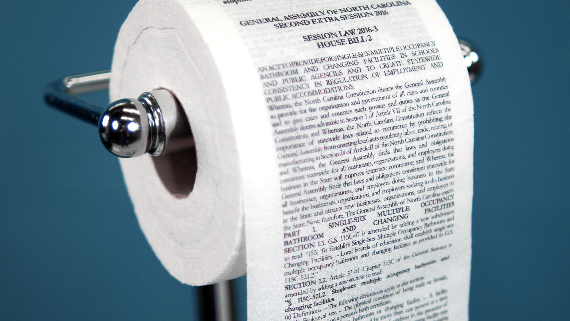 McKinney Printed NCs Bathroom Bill on Toilet Paper You