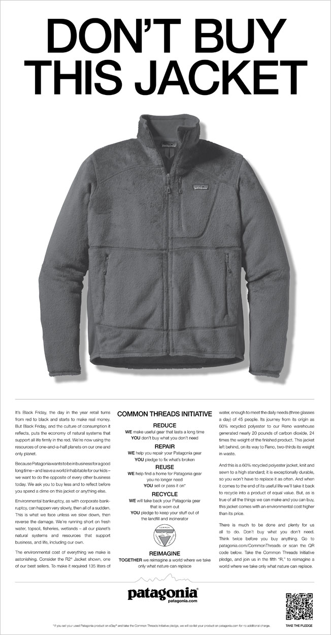 """Don't Buy This Jacket"" ad from Patagonia"