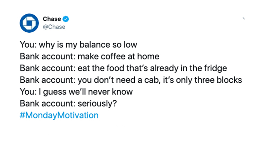Chase Fails To Read The Room Sparks Backlash With Snarky Tweet About Low Bank Accounts