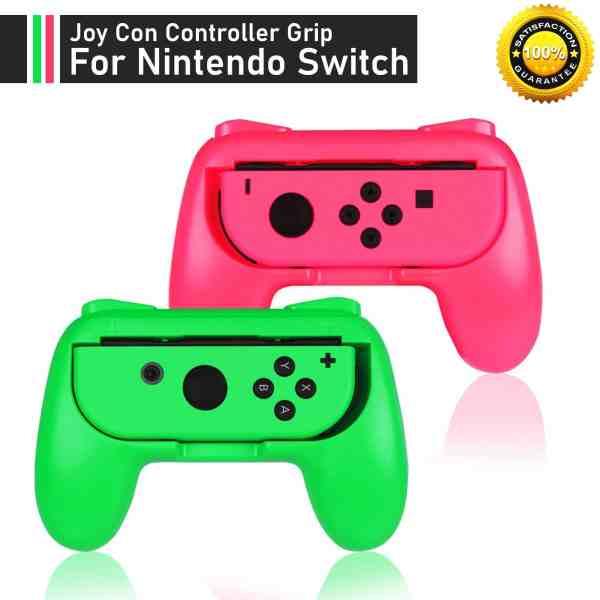 pink green nintendo switch joy con grip comfort handles