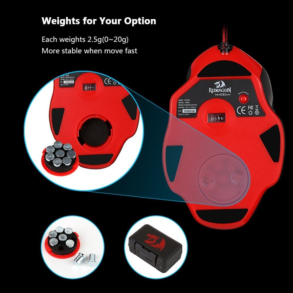 Redragon M805 Hydra 14400 DPI RGB Programmable Gaming Mouse