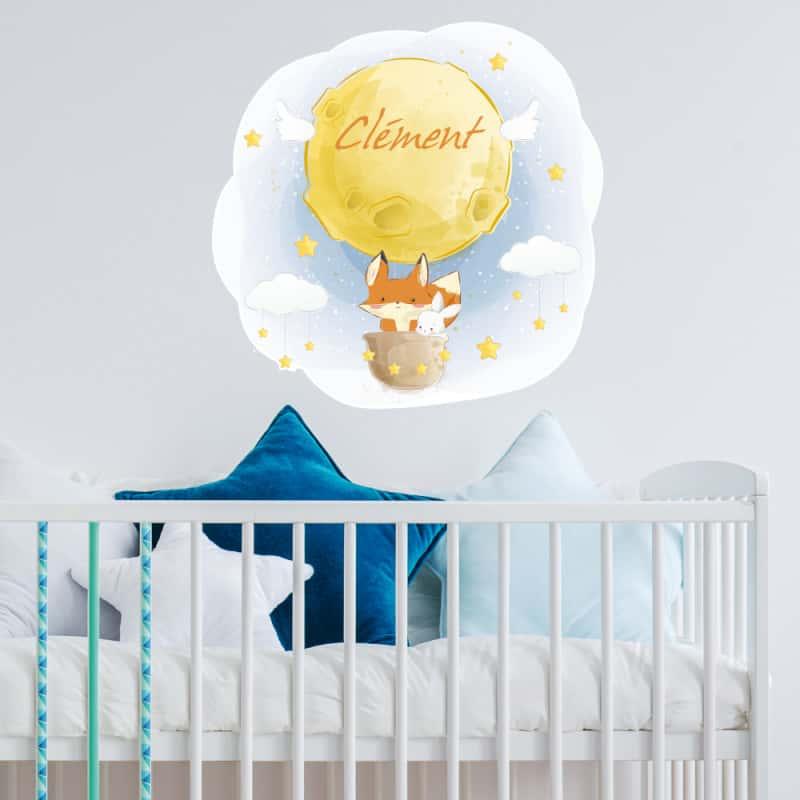 sticker tete de lit pour chambre d enfant la tete dans les etoiles personnalisable avec le prenom de votre enfant tete lit
