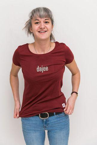 "WOMEN'S T-Shirt 'dajee': Shirt colour ""burgundy"", Print ""light grey"""