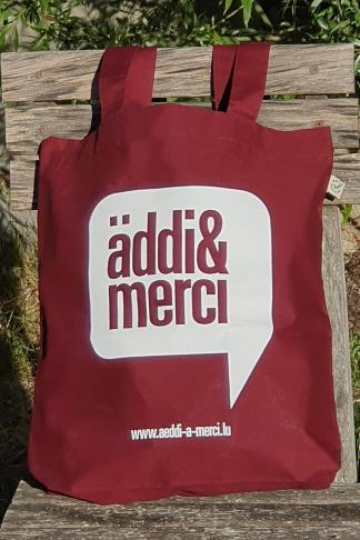 "ORGANIC SHOPPER-BAG ""äddi&merci"": Bag colour ""Burgundy"", Print ""White"""