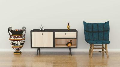 Muebles bajos y madera natural