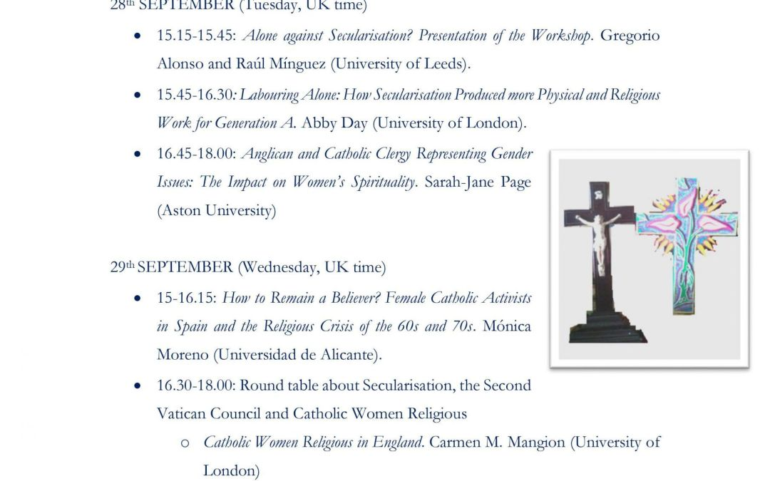 Simposio online :Losing her religion? Gender and religious identity in Anglican and Catholic Women (England, Spain, 1960-2020)