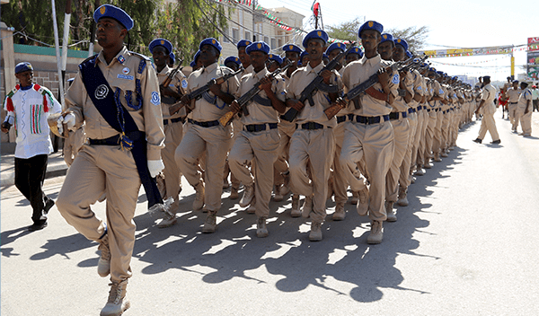 Somaliland police militia take part in an indepdence day parade