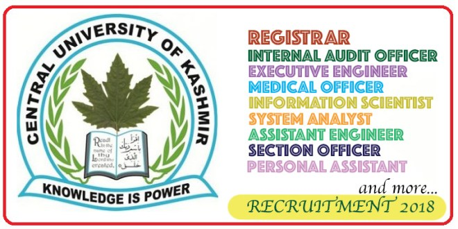 Central University of Kashmir Recruitment 2018 | Multiple vacancies across Various Posts