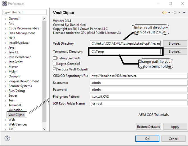 configure vaultClipse Plugin in eclipse aem