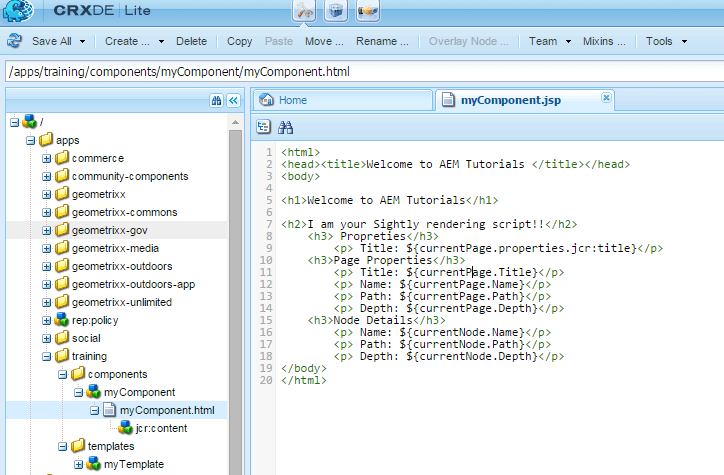 Create a Basic Sightly Component in AEM | AEM CQ5 Tutorials