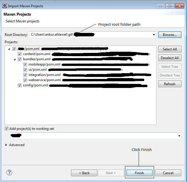 import existing maven project into workspace in eclipse