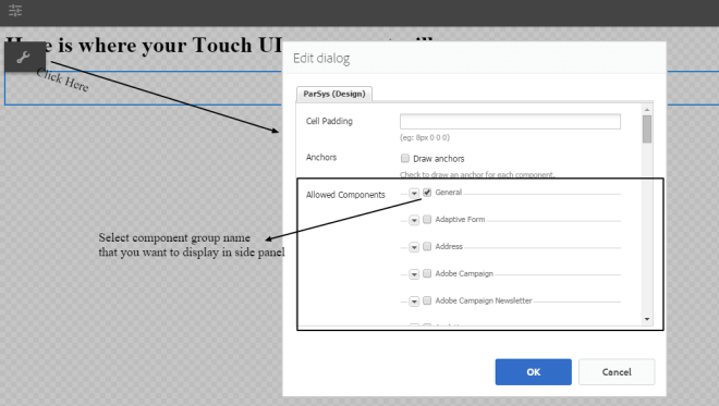 add components in touch ui from parsys to side panel aem 6