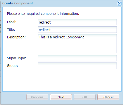 create redirect component in aem