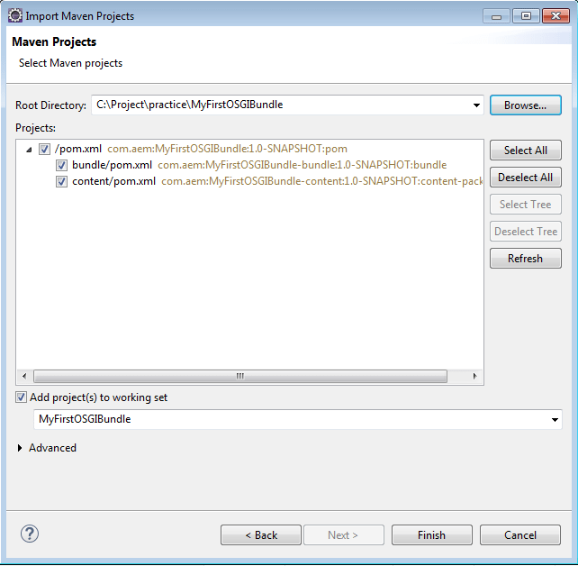 import maven project select pom in aem